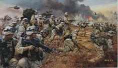 """""""Strike on Karbala"""" de James Dietz, cuadro sobre los combates librados en esa ciudad iraqui en 2003 por los miembros del 502º Regimiento de Infantería, de la 101ª División Aerotransportada. Más en www.elgrancapitan.org/foro"""