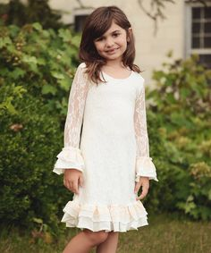 Another great find on #zulily! White Lace Shift Dress - Toddler & Girls by Ruffles Couture by C.G. #zulilyfinds