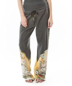 Look what I found on #zulily! Black & Yellow Floral Lounge Pants #zulilyfinds