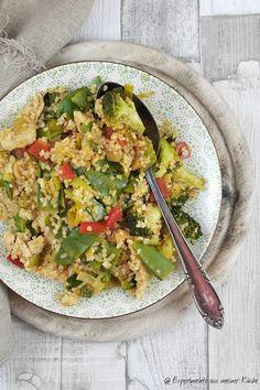 Gemüsepfanne mit Bulgur und Hähnchen
