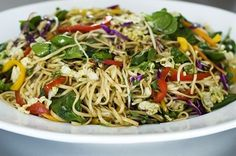 Asian Noodle Salad. I freaking love this salad. Three small (healthier) changes: only 8oz of rice noodles and half the olive oil
