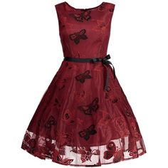 Plus Size Butterfly Jacquard A Line Prom Dress (450 MXN) ❤ liked on Polyvore featuring dresses, a line shape dress, moth dress, a line silhouette dress, butterfly pattern dress and red dress