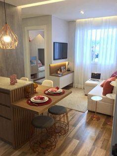 Cozinha e sala. Small Apartment Design, Small Apartment Living, Condo Design, Small Apartments, Condo Living Room, Living Room Decor, Modern Small House Design, Rental Decorating, Living Room Designs