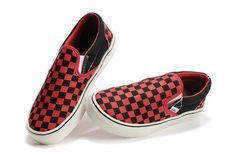 Vans Red/Black Checkerboard Slip-On Shoes Cheap
