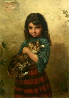 Cats in Art; Girl With Cat: William Oliver