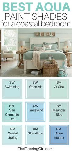 Best aqua and coastal paint colors for bedrooms.  Turquoise and green blue hues give this bedroom a soft and soothing look.  I also love the aqua shiplap on the walls.  #aqua #paint #color #bedroom #bedroomideas #bedroomdecor #turquoise #homedecor