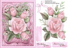 A lovely card with Pink Roses on a Glitter mat has two greeting t5ags and a blank one