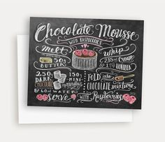 Illustrated Recipe Note Card - Chocolate Mousse with Raspberries - Chalk Art Card - Kitchen Note Card- Recipe Illustration von LilyandVal auf Etsy https://www.etsy.com/de/listing/218802330/illustrated-recipe-note-card-chocolate
