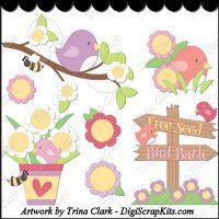 Birds & Blooms 1 Clip Art