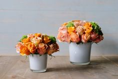 A beautiful collection of roses in shades of melon, tangerine and peach: 'Charity in Bloom' by Winston Flowers.