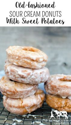 Old-Fashioned Sweet Potato Sour Cream Donuts- These are are sweet, soft homemade donuts that stay fresh and delicious for days!