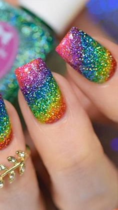 Whether male female cis queer or gender fluid these rainbow nail designs are a chance to explore a world of color. Summer Acrylic Nails, Cute Acrylic Nails, Acrylic Nail Designs, Cute Nails, Pretty Nails, Square Nail Designs, Cute Nail Designs, Rainbow Nail Art Designs, Rainbow Nails