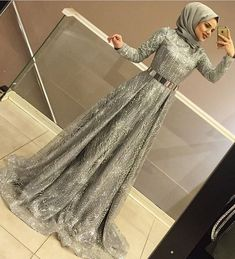 Long Sleeve Party Dresses With Hijab Muslim Prom Dress, Hijab Prom Dress, Hijab Evening Dress, Muslim Wedding Dresses, Dress Outfits, Fashion Dresses, Gown With Hijab, Hijabi Gowns, Mode Costume