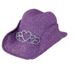Cowgirl hat for girls with tiara. Accented with heart tiara.  Stylish addition to any little cowgirl's wardrobe