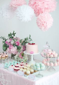Baby shower sweet table in pastel with peonies