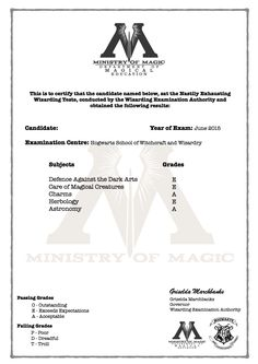 Harry Potter N.E.W.T grade certificate! blank version available!