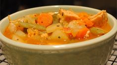 Lower Fat Chicken Vegetable Soup using cooked chicken cubes, tomato juice and shredded cabbage, among other tasty things. Vegetable Soup With Chicken, Vegetable Soup Recipes, Chicken And Vegetables, Chicken Recipes, Veggie Soup, Booyah Recipe, How To Cook Chicken, Cooked Chicken, Chicken Pizza