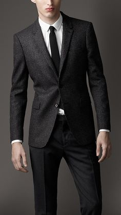 Burberry - Slim Fit Houndstooth Wool Jacket