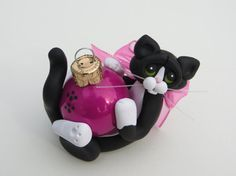 Polymer Clay Black Tuxedo Cat Christmas by HeartOfClayGirl on Etsy.