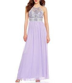 19d8c404e5488 B. Darlin High Neckline Beaded Bodice Illusion Yoke Open-Back Long Color  Block Dress