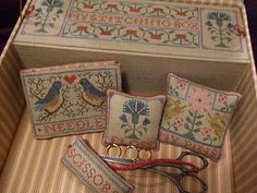 Sewing Box with Cross Stitch Accessories