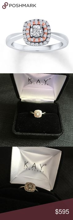 Sterling Silver Rose Gold Round Cut Diamond Ring Diamond Ring 1/5 cttw Round-cut Sterling Silver/10K Gold GORGEOUS ring! I just had it cleaned & inspected it is a size 5, clarity: I3, color: white, primary diamond weight 1/20. I have only had this for a year & has been in the box since its last inspection last Christmas. It's cleaned & inspected per the warranty every 6 months to ensure everything is perfectly in place. MSRP $672. Included stick photo since it's so sparkly my camera can't do…