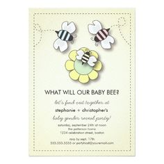 Happy Bee Family Couples Baby Gender Reveal Party Invitation Card