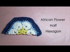 ▶ アフリカンフラワーモチーフの編み方(半分 1/2) * African Flower Half Hexagon Crochet Motif * - YouTube