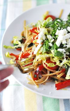 Linguini with Vegetables Topped with Romaine & Feta