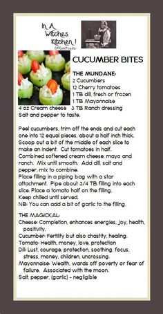 Cucumber Bites, the mundane and the magickal. Veggie Recipes, Appetizer Recipes, Appetizers, Midevil Food, Wicca Recipes, Cucumber Bites, Kitchen Witchery, Recipe For Mom, Ranch Dressing