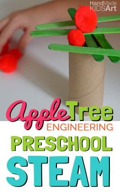Inspired by our Chicka, Chicka Boom Boom Alphabet tree, this engineering activity will have your child experimenting with materials to build an apple tree! Preschool Apple Theme, Preschool Science, Preschool Lessons, Preschool Crafts, Apple Activities Kindergarten, Preschool Apples, Kindergarten Apples, September Preschool Themes, Preschool Farm