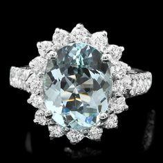 14k Gold 3.5ct Aquamarine 1.25ct Diamond Ring : Lot 120C