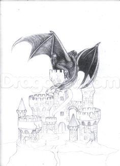 Castle Sketch, Castle Drawing, Fantasy Drawings, Fantasy Art, Fantasy Landscape, Realistic Dragon Drawing, Disney Character Drawings, Castle Tattoo, Dragon Artwork