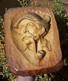 Image result for wood carving old man and pipe