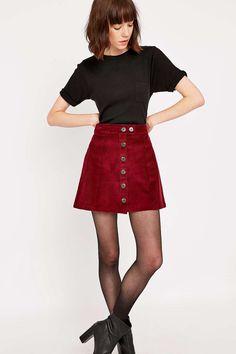 Urban Renewal Vintage Remnants Burgundy Cord A Line Skirt