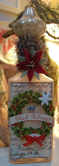 Altered Bottle Christmas. use vintage ornament for stopper