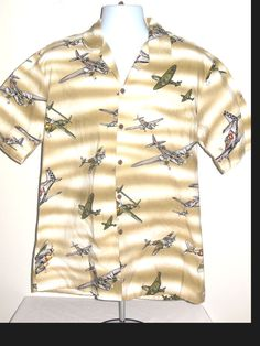 Pacific Legend Hawaiian  WWII Fighter Bomber Airplanes Mens Cotton Shirt Size L  #PacificLegend #Hawaiian