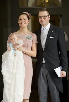 Sweden: Crown Princess Victoria, Prince Daniel, and Princess Estelle, on the baby's christening day 2012.