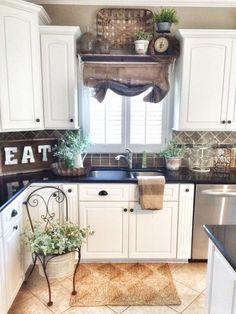 Burlap Sack Curtains More   Modern Kitchen. Best Farmhouse Kitchens Design  And Decor Ideas