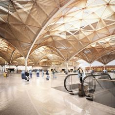 Rostov Airport Competition, HAPTIC Architects by Forbes Massie, via Behance Futuristic Architecture, Interior Architecture, Forbes Massie, Richard Rogers, Airport Design, Timber Ceiling, Space Frame, Wood Structure, Parametric Design
