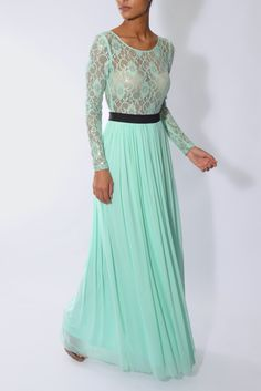 Mint Lace Top Maxi Dress | Rare London