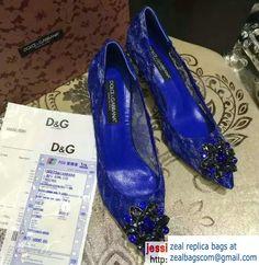 Dolce & Gabbana Crystal Pumps Blue Fall 2016
