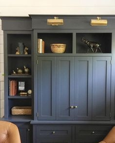 """photo: """"Antiques I picked up in a charming little Southern Oregon town getting a new life in these built-ins at the Paint color is Benjamin Moore Cheating Heart. Built In Cabinets, Built In Bar Cabinet, Bar Cabinets, Kitchen Cabinets, Bathroom Cabinets, Kitchen Reno, Storage Cabinets, Cupboards, Kitchen Storage"""