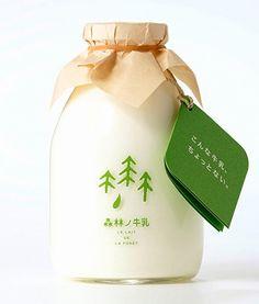 Beautiful package design, Le Lait De La Foret (Milk of the Forest) by Hinomoto.