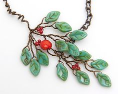 Green and Orange  Leaf Necklace Woodland by CherylParrottJewelry, $44.95