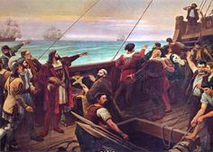 Discovery of Brazil. Pedro Alvares Cabral sees the land that would later be known as Brazil for the first time Learn Brazilian Portuguese, Age Of Discovery, Portuguese Lessons, Portuguese Language, Archaeological Discoveries, The Eighth Day, World History, 16th Century, Empire