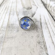New today from melted glass by Steph handmade forget me not sterling silver ring