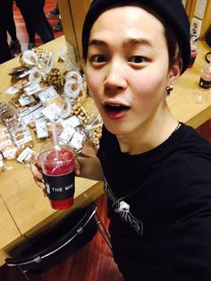 BTS Tweet - Jimin (selca) D-Day for BTS Begin Concert -- 2am Changmin sent goodies for the boys from his cafe