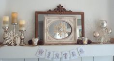 after Christmas  Winter Mantel