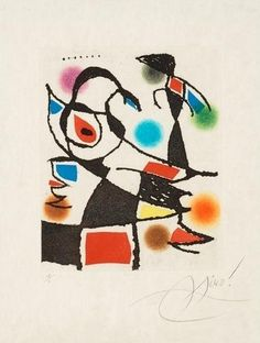 "Artwork by Joan Miró, Untitled, from: ""Le marteau sans maître"", Made of Etching and aquatint in colours"